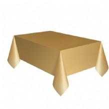 Gold Table Cloth - Plastic 9ft Tablecover 1pc